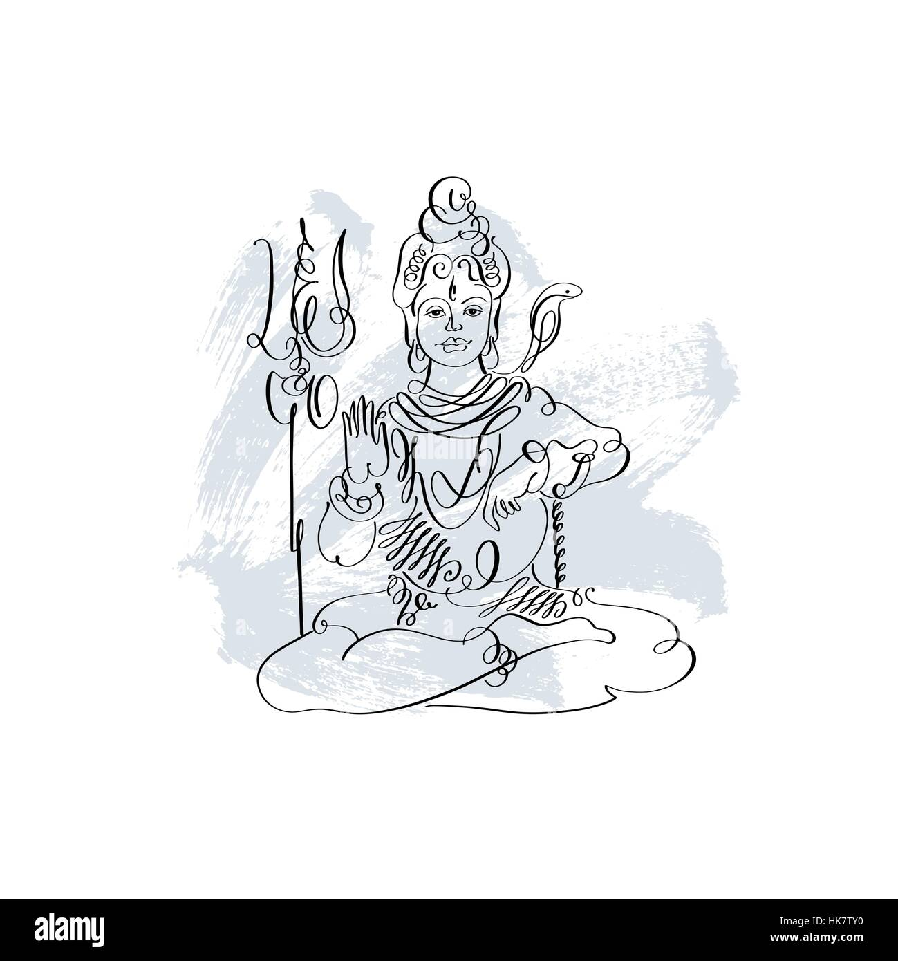 Lord Shiva black and white calligraphic drawing to Maha