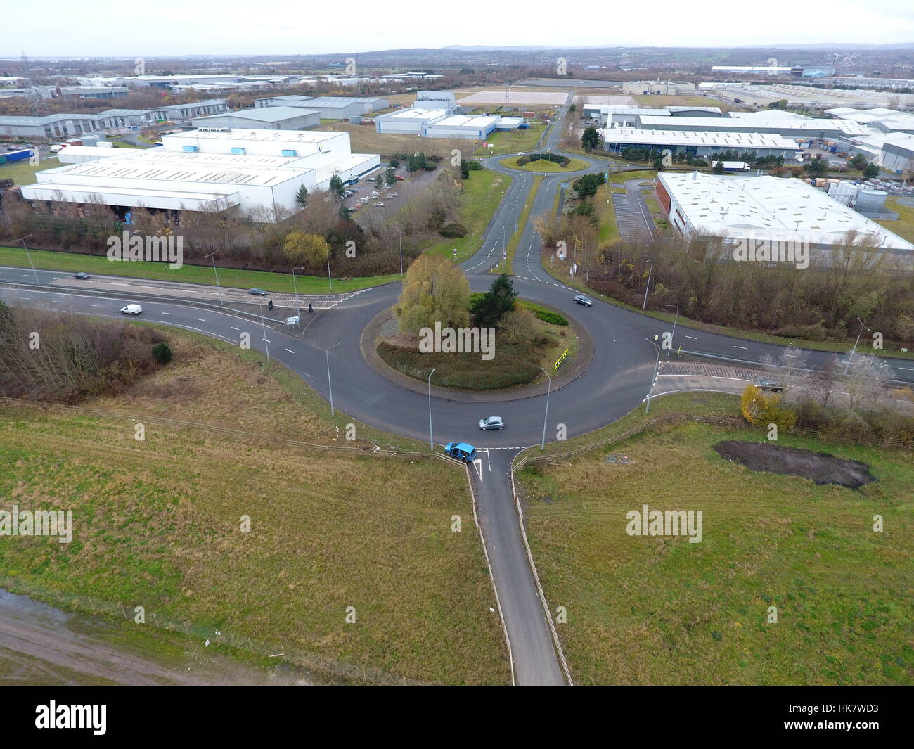 Aerial photograph of a roundabout - Stock Image
