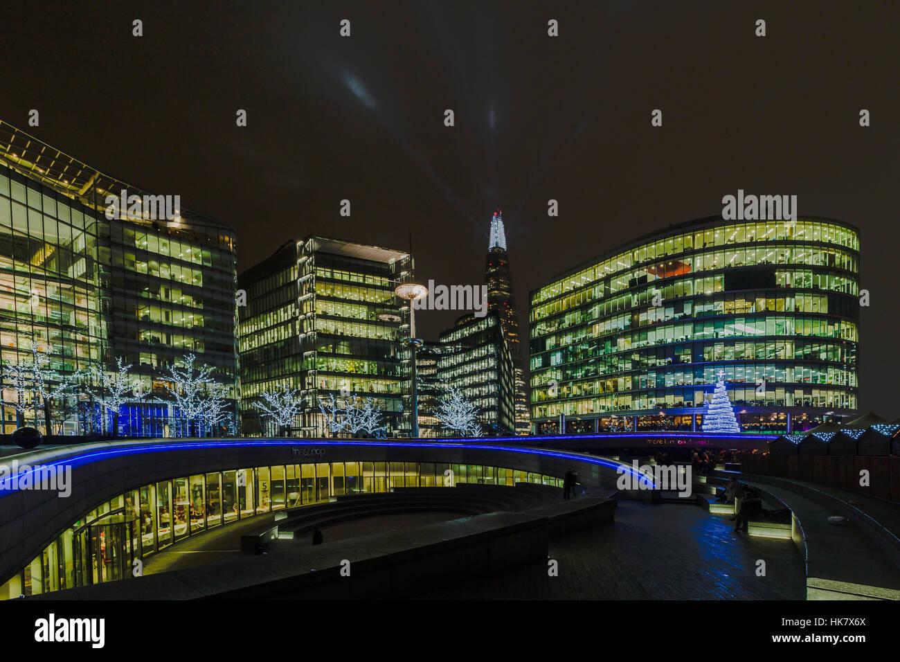 A night photograph of around city hall Stock Photo