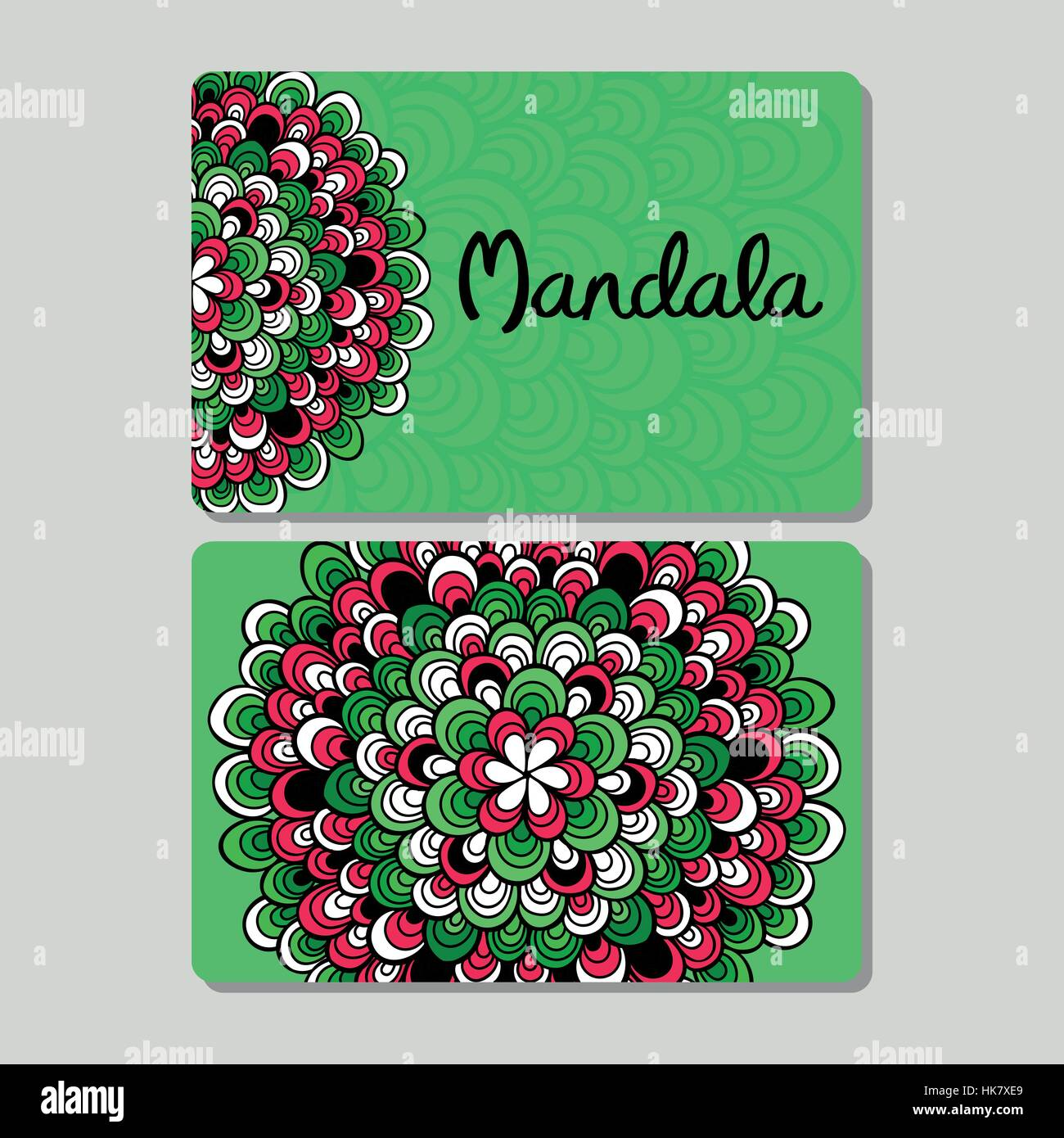 Visiting card and business card set with mandala design element logo ...