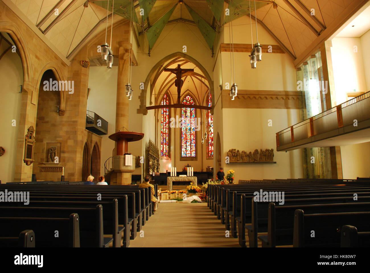 Refurbished interior Stiftskirche Stuttgart Baden Wuerttemberg Germany - Stock Image