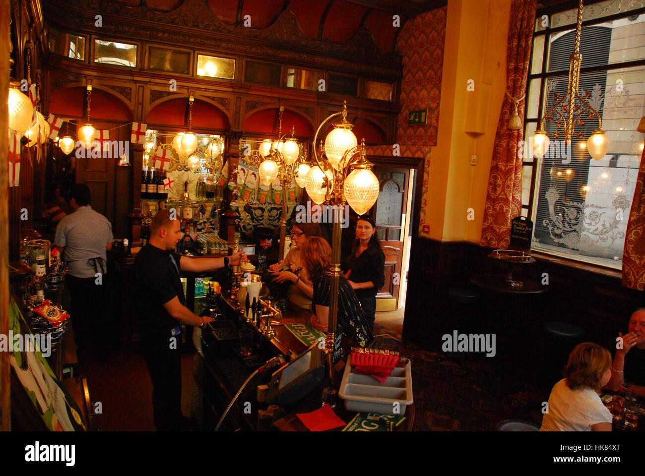Inside a Pub London UK - Stock Image