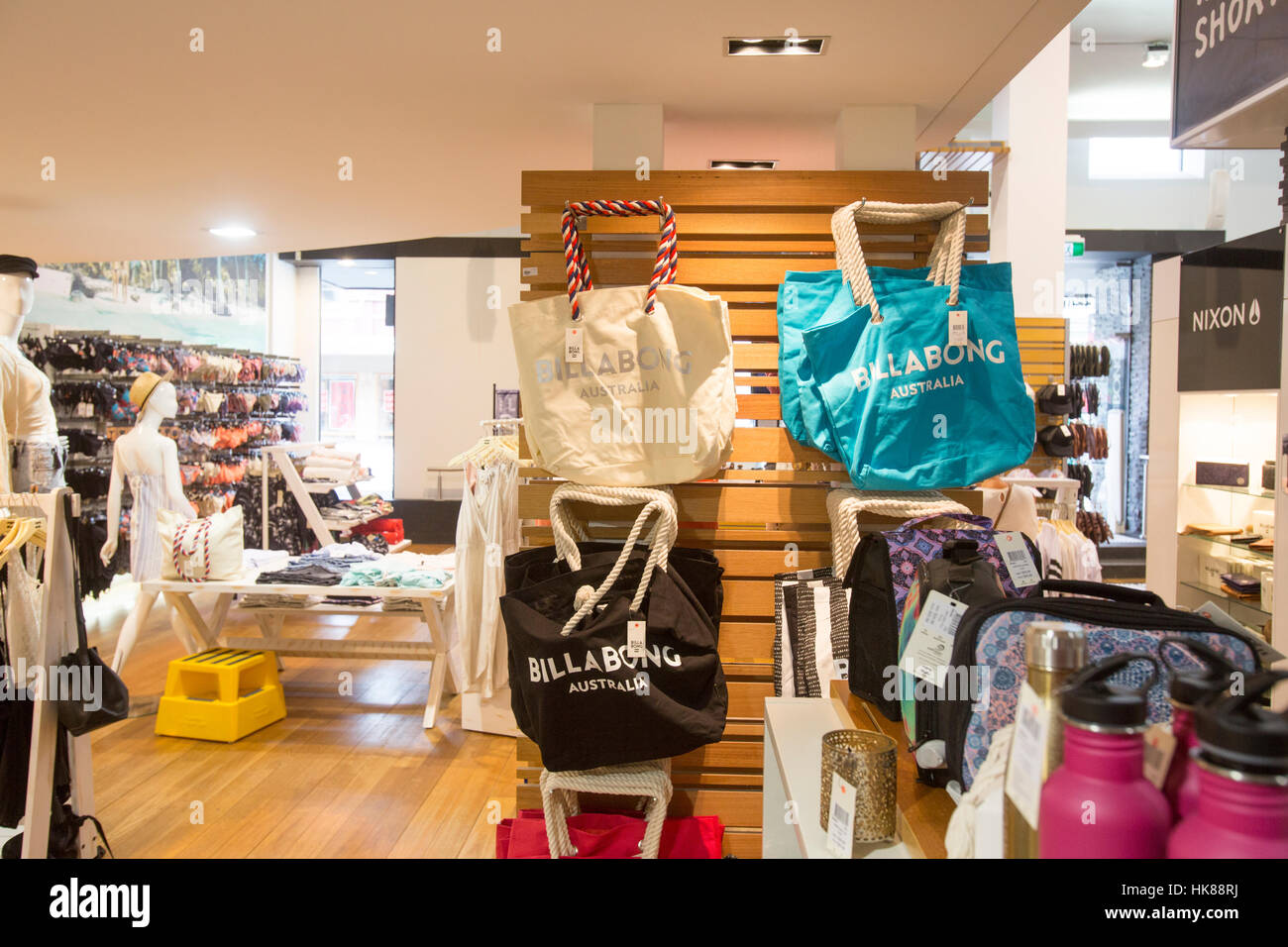 b1c0bd90e969 Billabong made beach bags and other surf clothing on sale inside Billabong  Surf wear Sydney store,New South Wales,Australia.