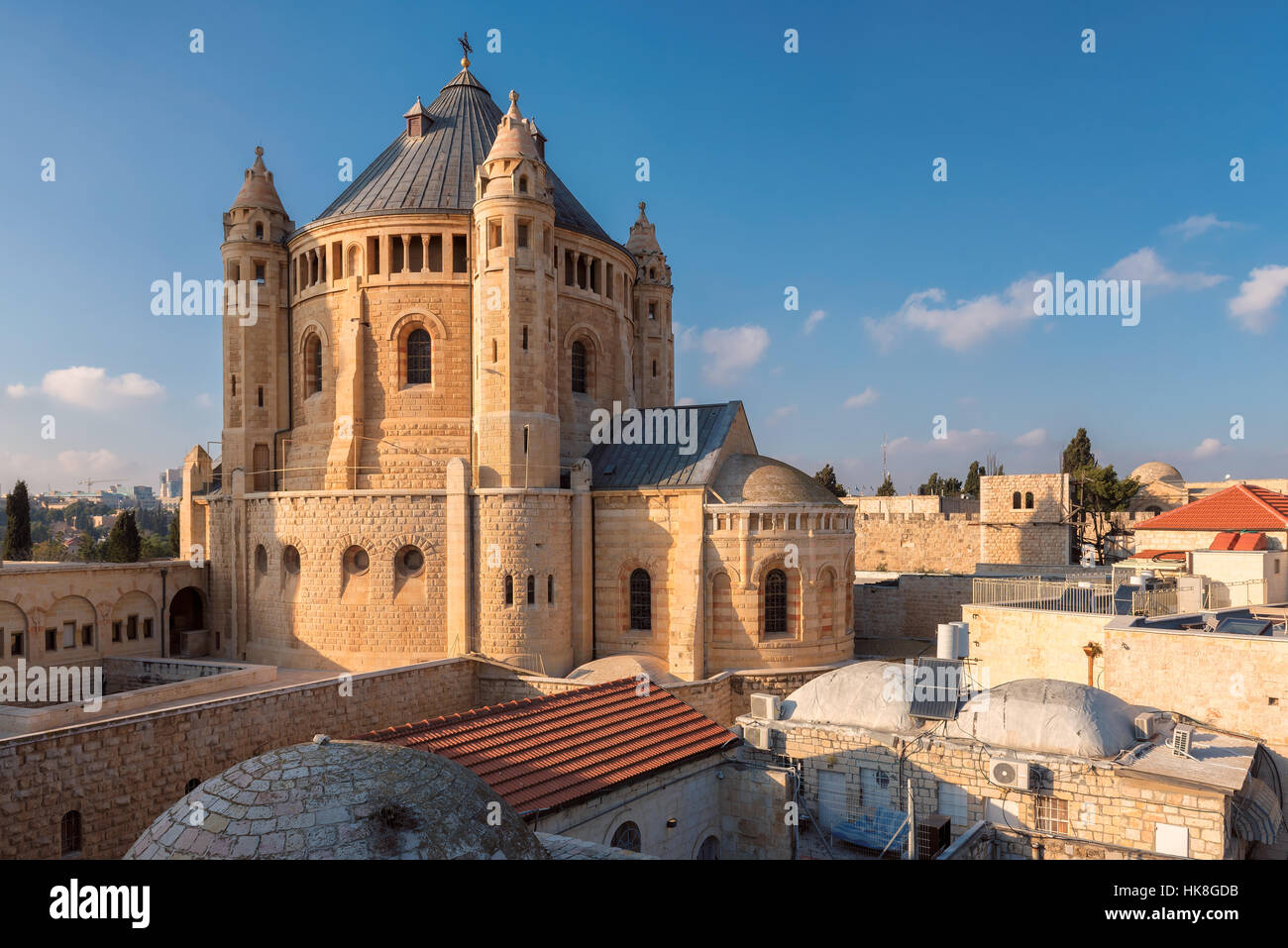 Old Church of Dormition at Sunset. Jerusalem, Israel - Stock Image