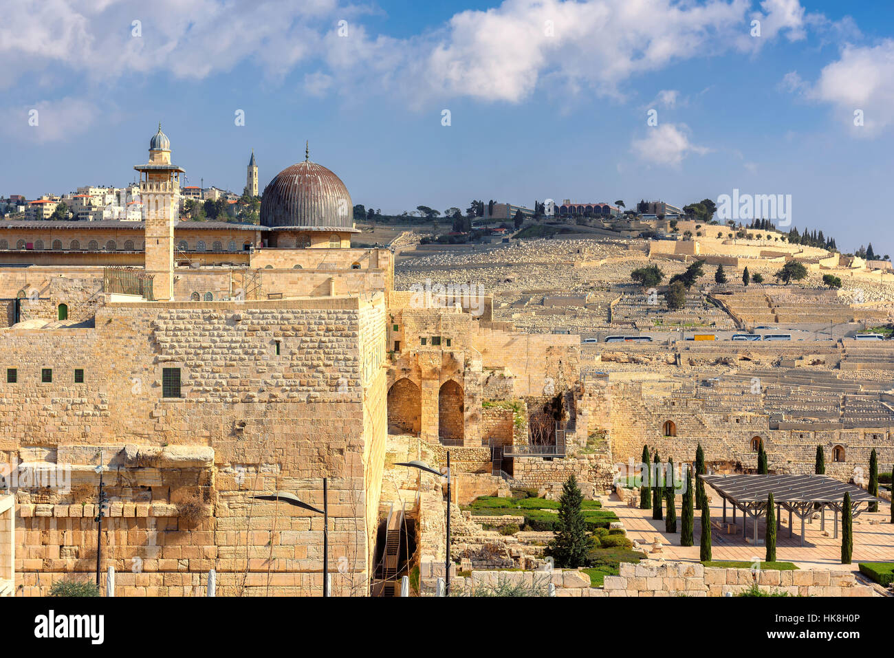 The Temple Mount and Mount of Olives on the horizon in Old Jerusalem, Israel. Stock Photo