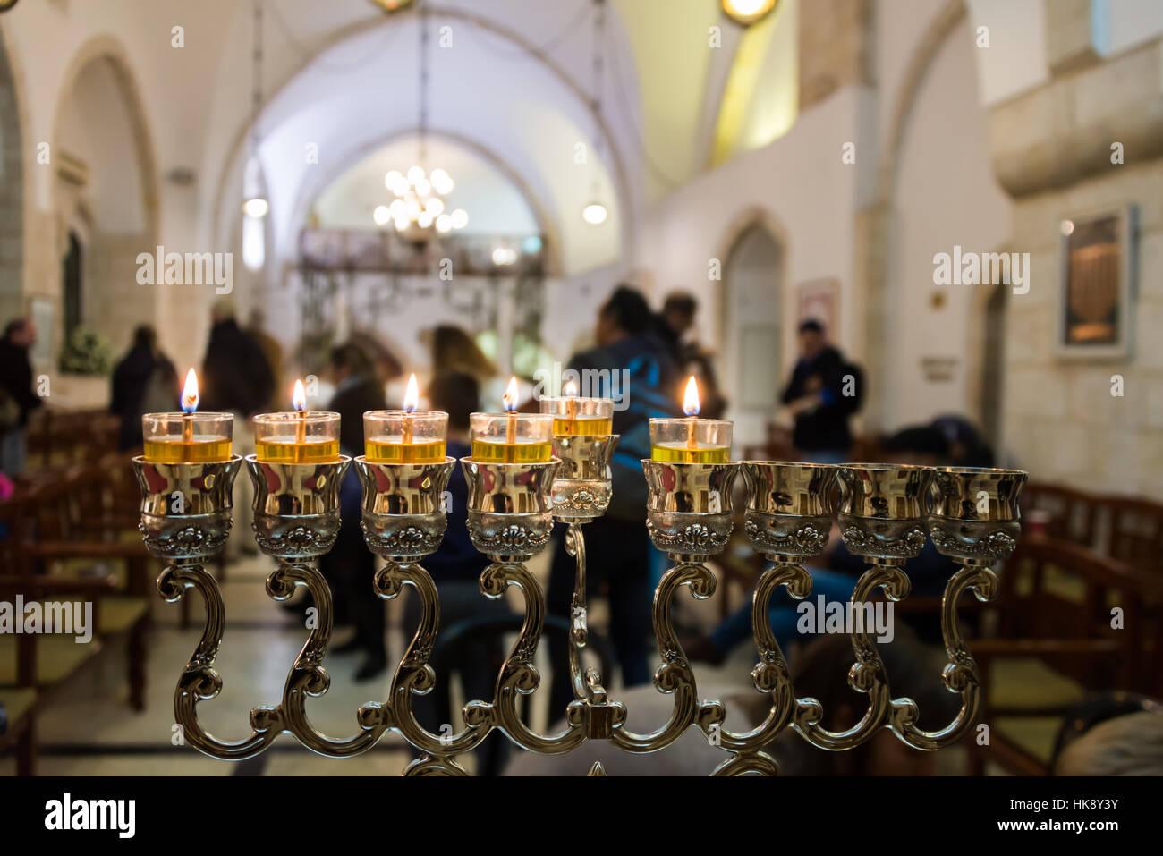 Hanukkah celebrations in Jerusalem, Israel - Stock Image