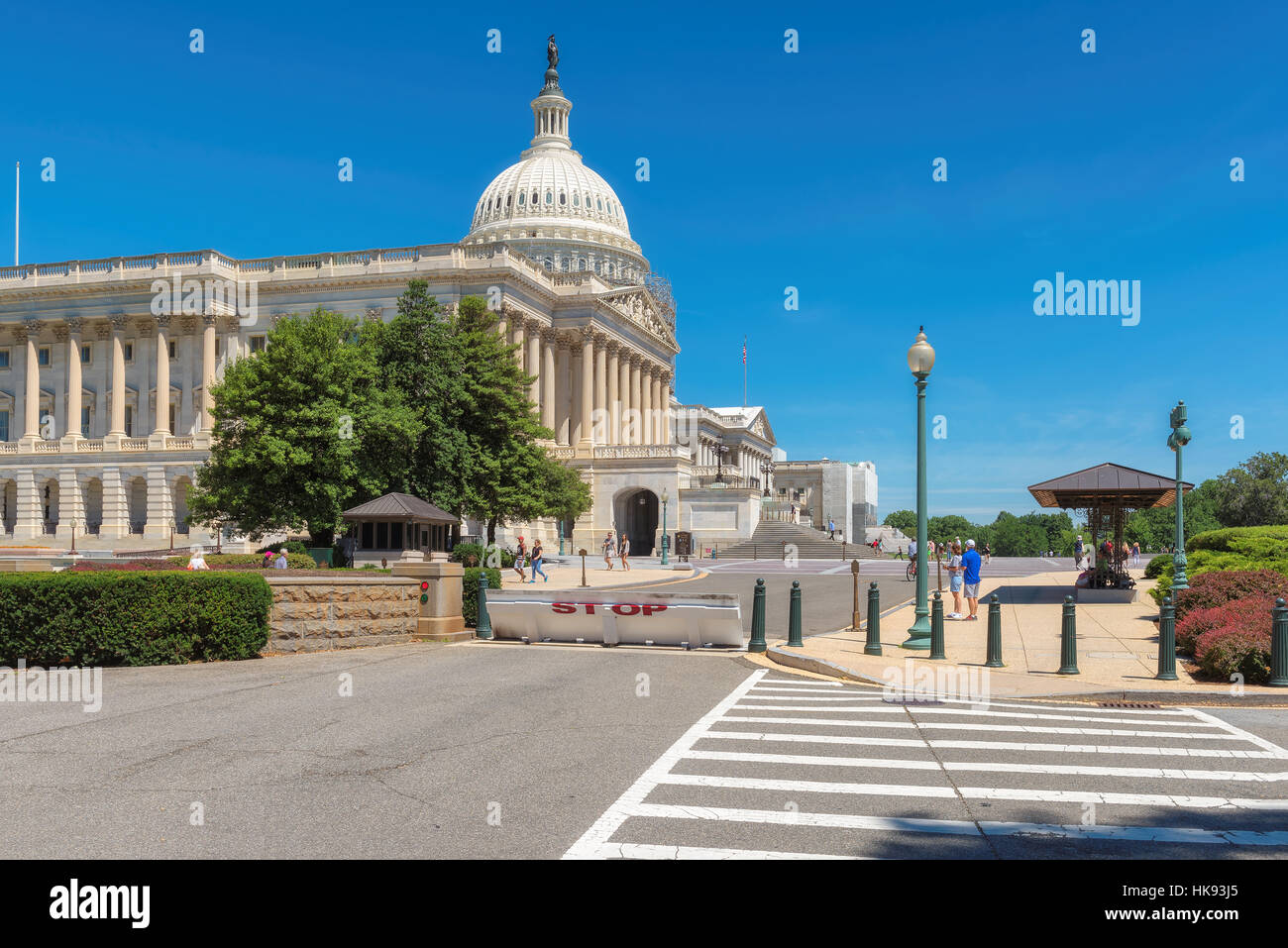 United states Capitol on a summer day with tourists in Washington DC. - Stock Image