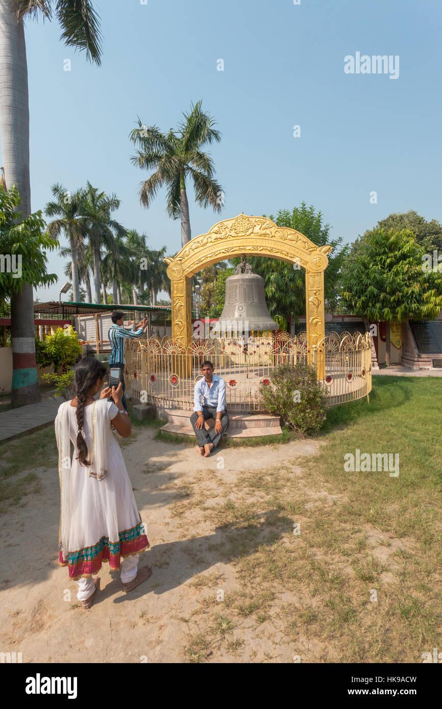 Bell of Dharma founded by Tarthang Rinpoche at Mulagandha Kuti Vihar, Sarnath, Uttar Pradesh, India - Stock Image