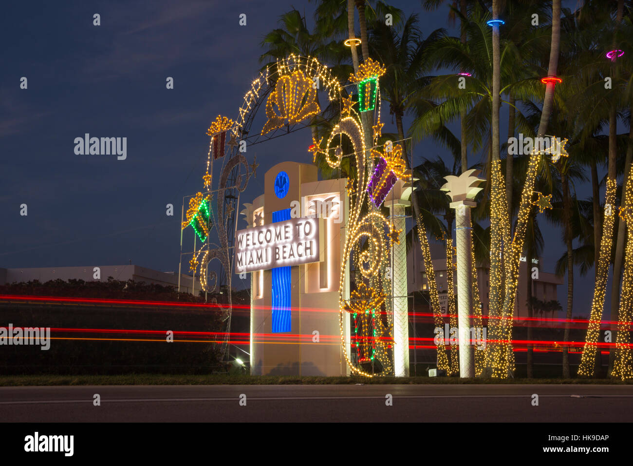 christmas decorations welcome to miami beach sign tuttle causeway miami beach florida usa stock image