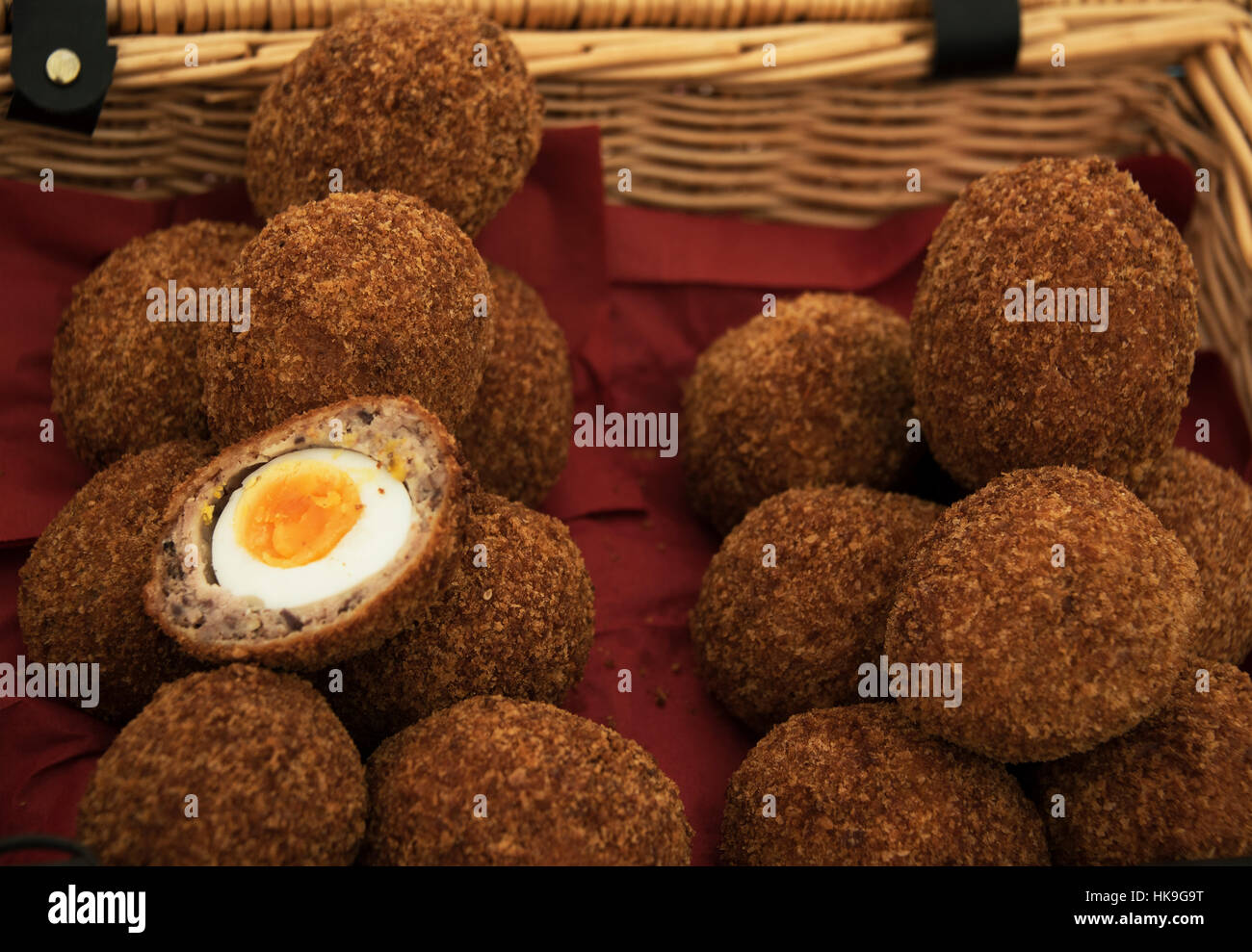 Basket of Scotch Eggs on display at the food hall at the Best of the West Festival in Inveraray Argyll in 2016. - Stock Image