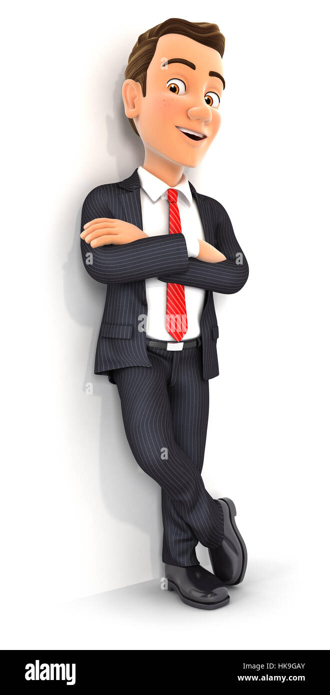 3d businessman standing against wall, illustration with isolated white background Stock Photo