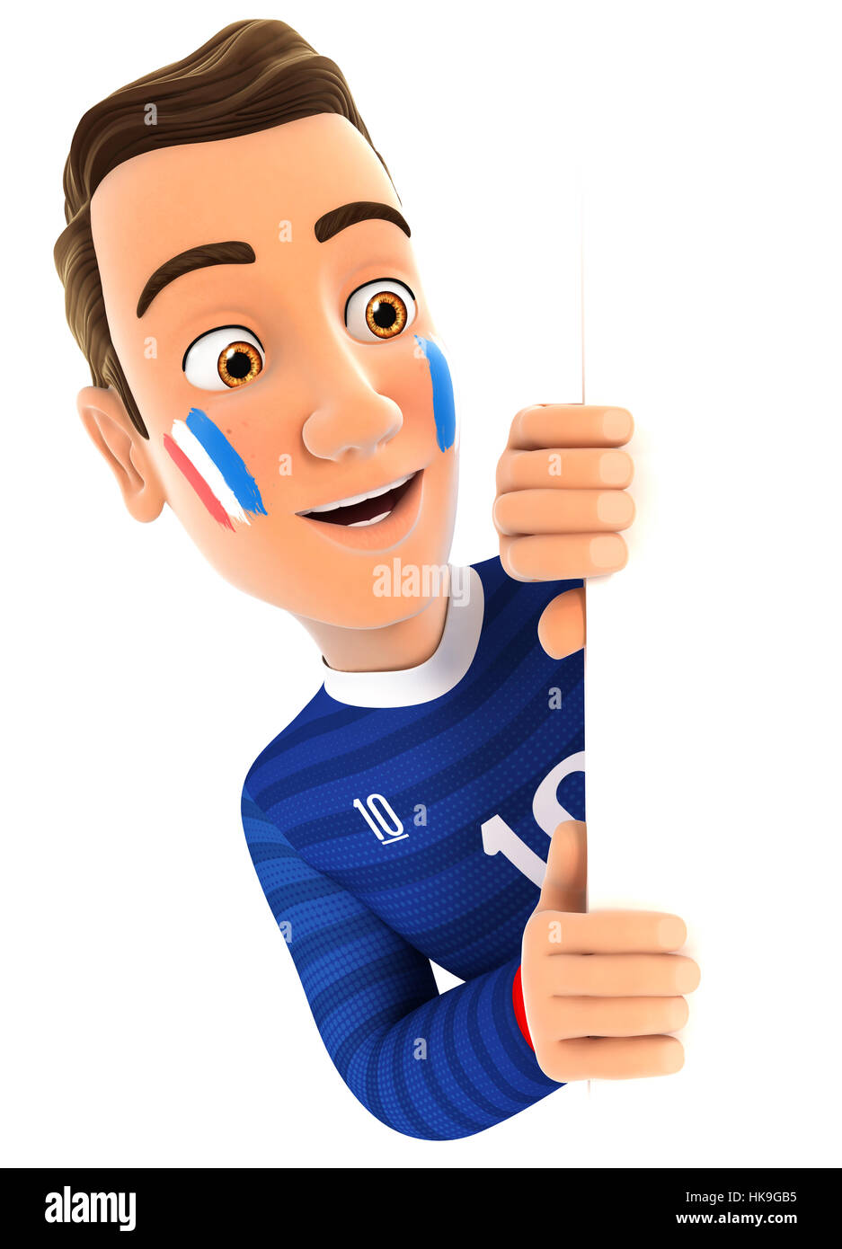 3d french soccer fan peeping over blank wall, illustration with isolated white background Stock Photo