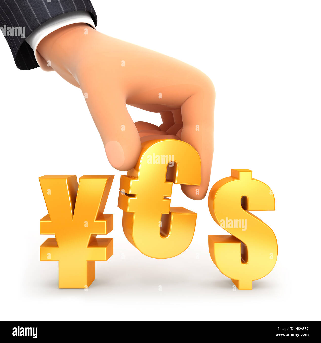 3d hand and currency sign yes concept, illustration with isolated white background Stock Photo