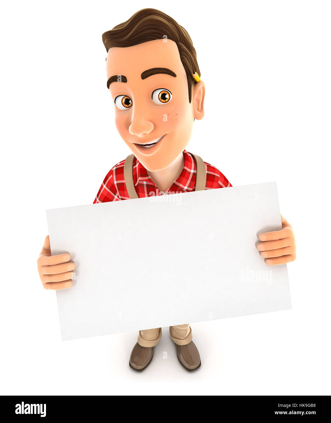 3d handyman holding a billboard, illustration with isolated white background Stock Photo