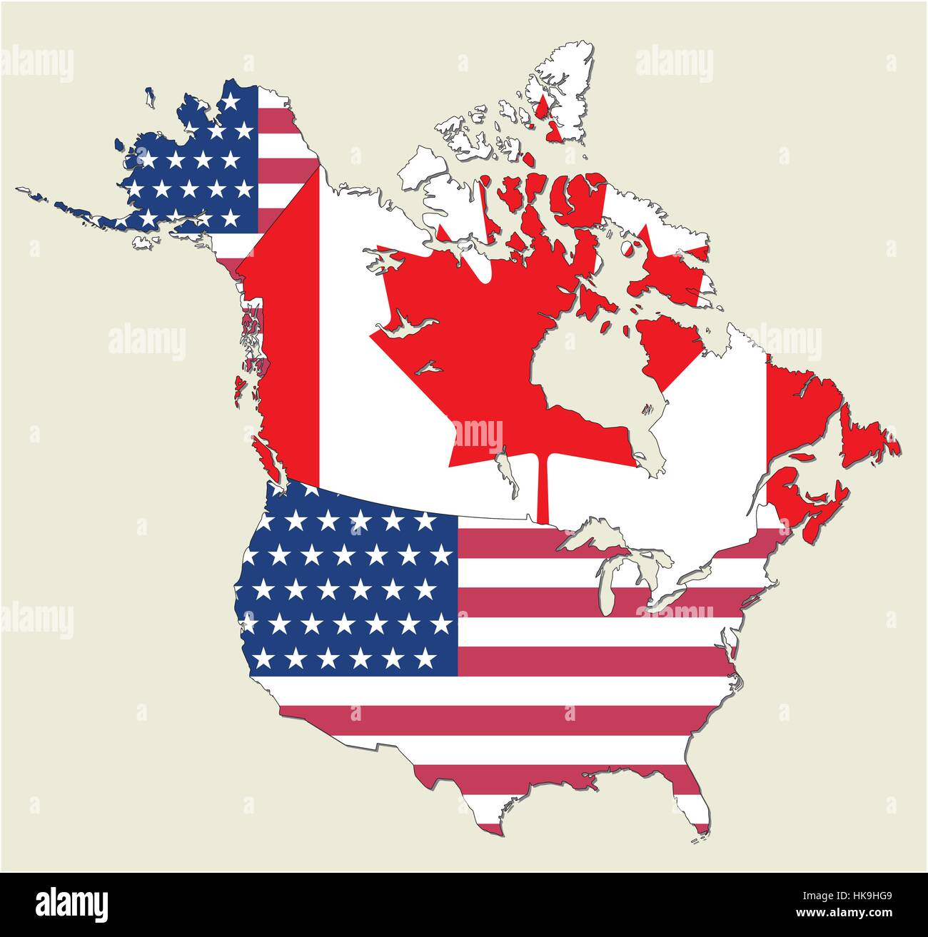 Map of the states of canada and usa flag as Represented Stock Vector ...