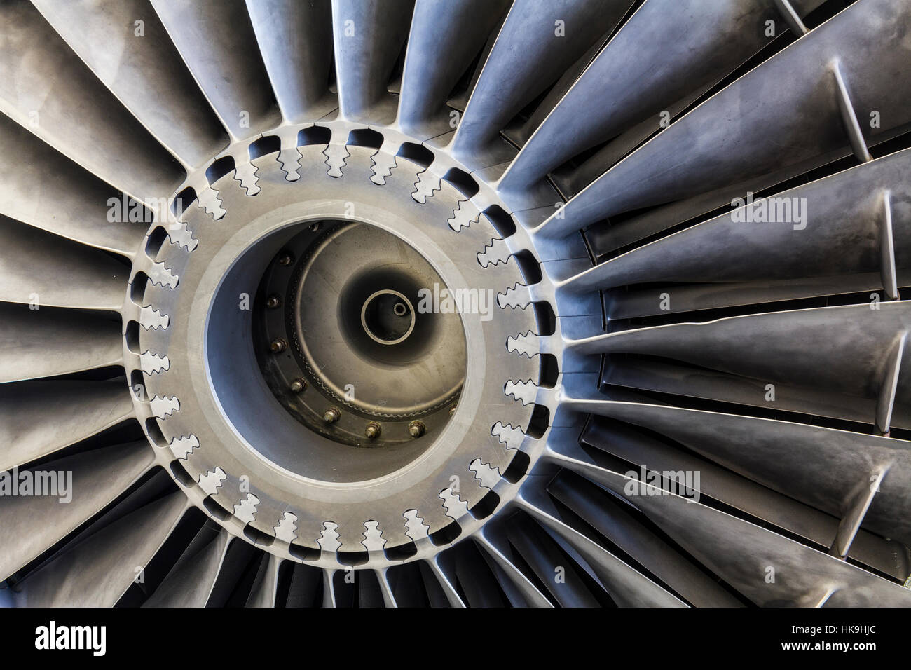 Indianapolis - Circa January 2017: Exterior of a Rolls-Royce F402 Pegasus Jet Engine, used in the VSTOL AV-8B Harrier - Stock Image