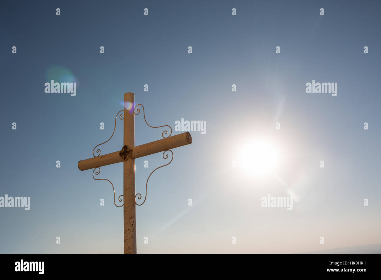 A cross at the top of a mountain at St. Anthony's Monastery in Egypt Stock Photo