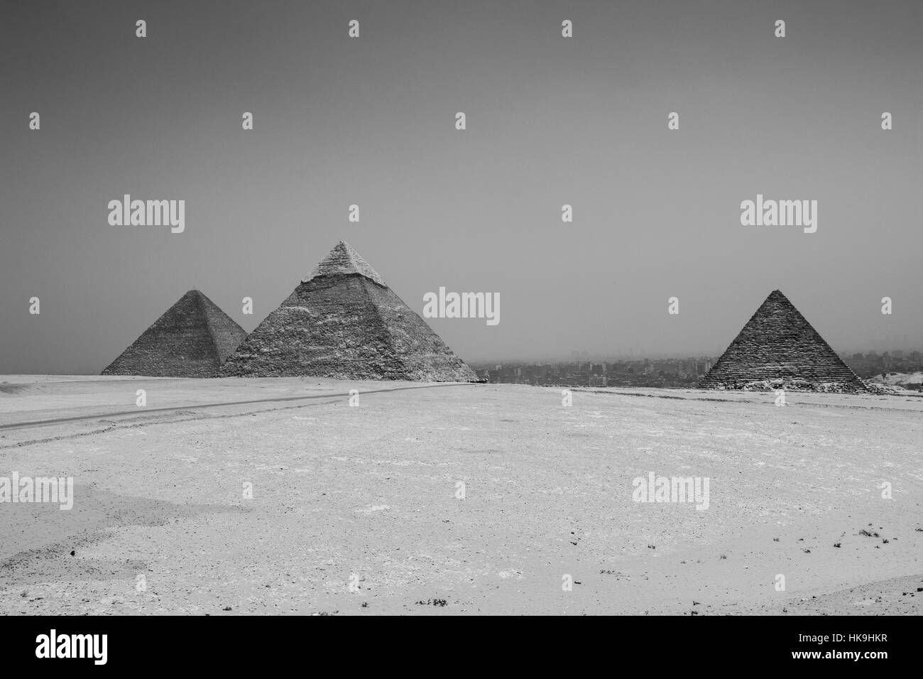 The Great Pyramids of Giza in Cairo, Egypt Stock Photo