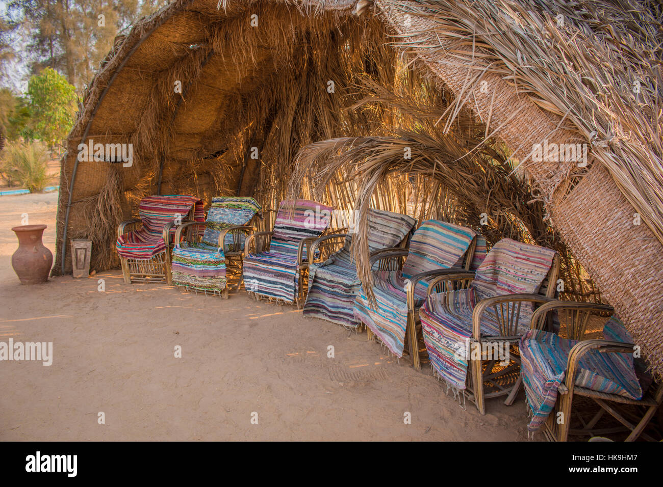 A colorful hut in the Anaphora Complex in Egypt Stock Photo