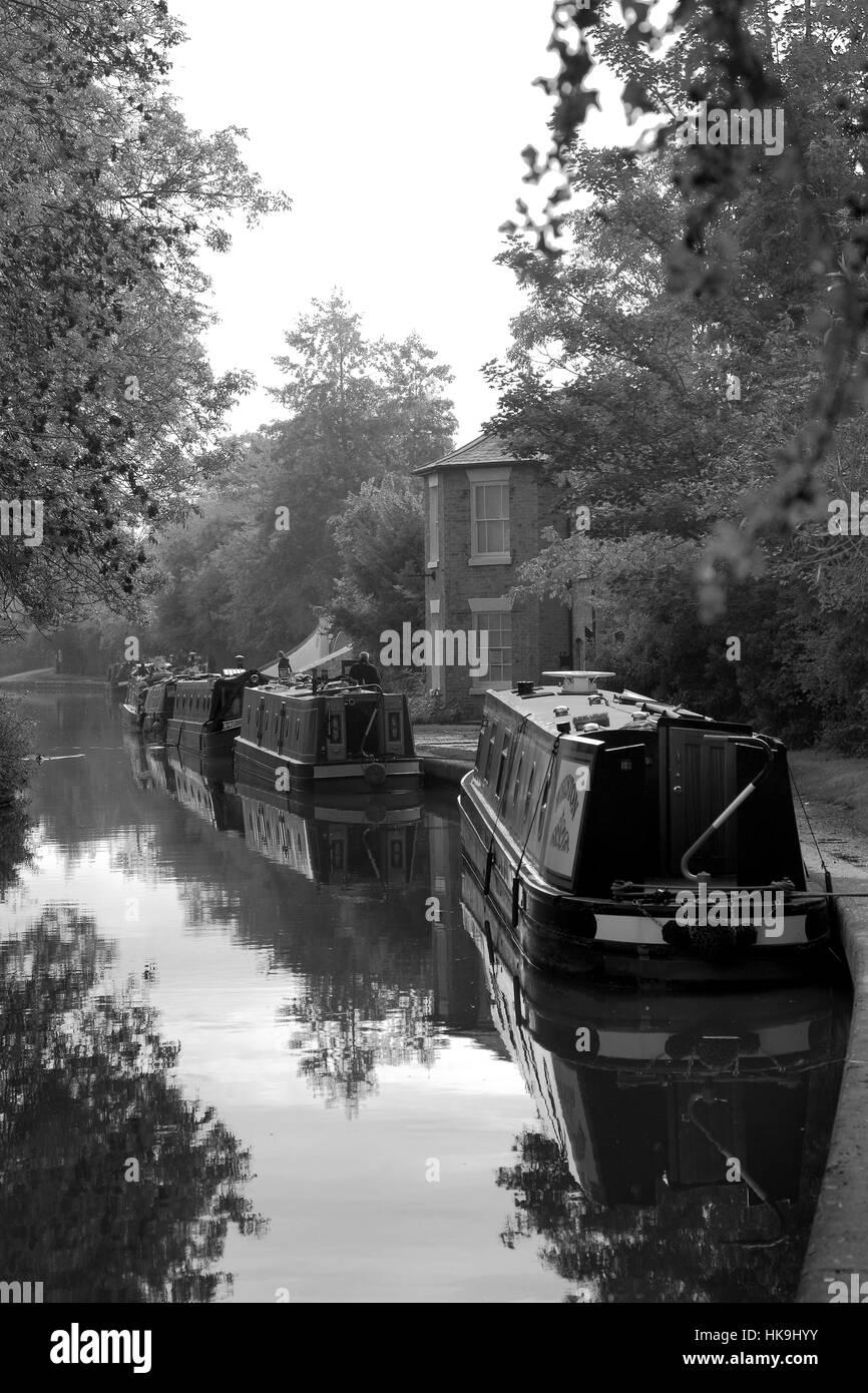 Narrowboats at Braunston Marina, Grand Union canal, Braunston village, Northamptonshire, England - Stock Image
