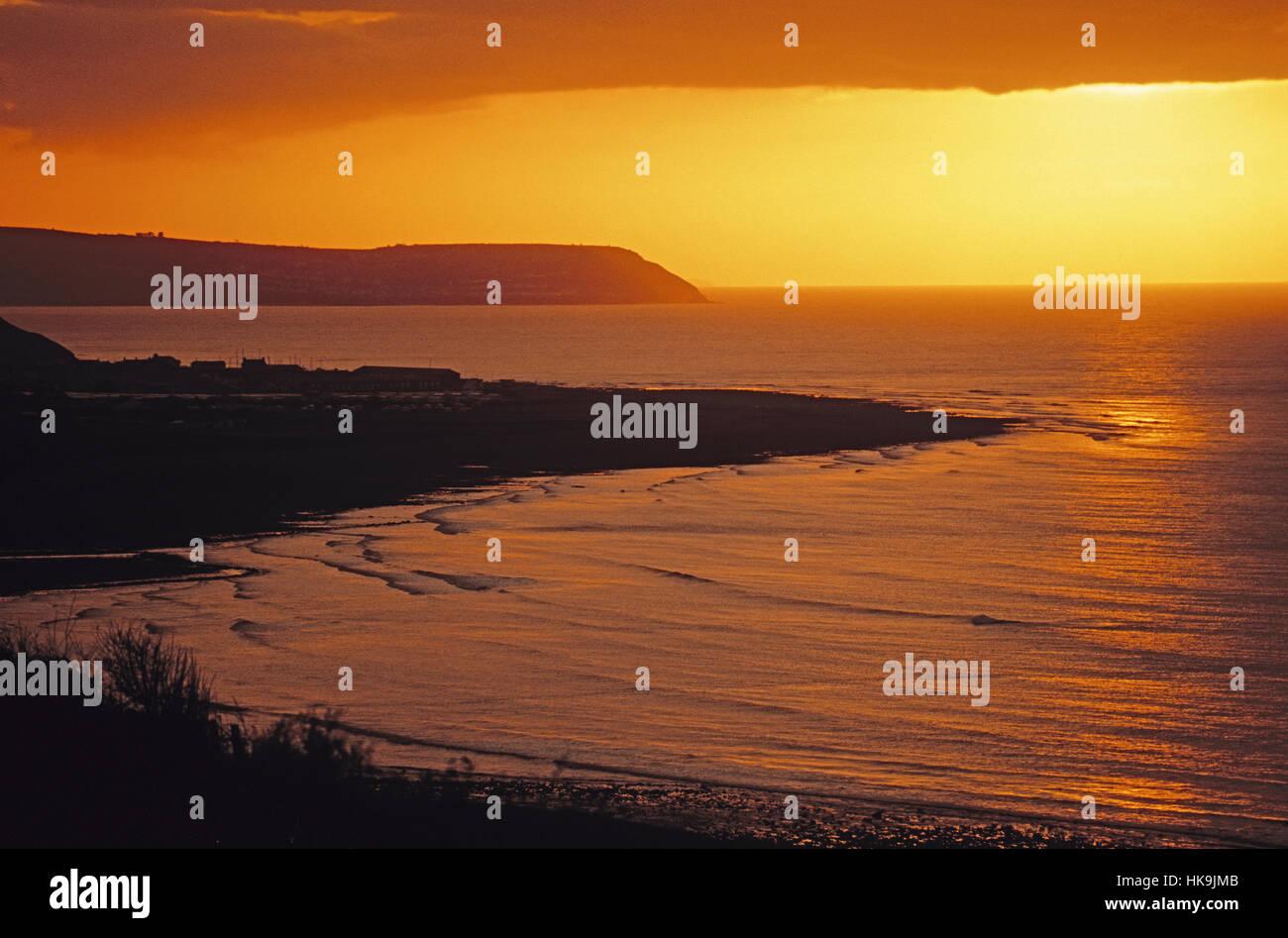 Cardigan Bay at dusk on west coast of Wales. - Stock Image
