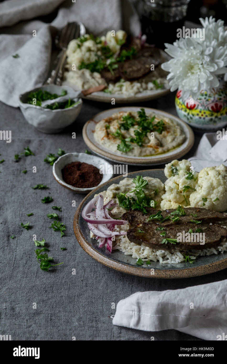 Middle Easter Dinner Plater - Stock Image