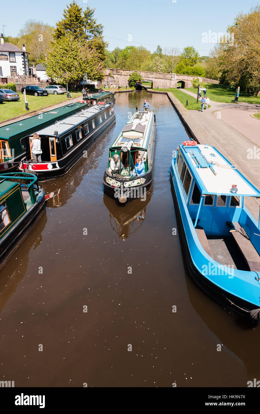 Narrowboats or canal barges on the Llangollen canal near Pontcysyllte a popular type of vacation on the inland waterways - Stock Image