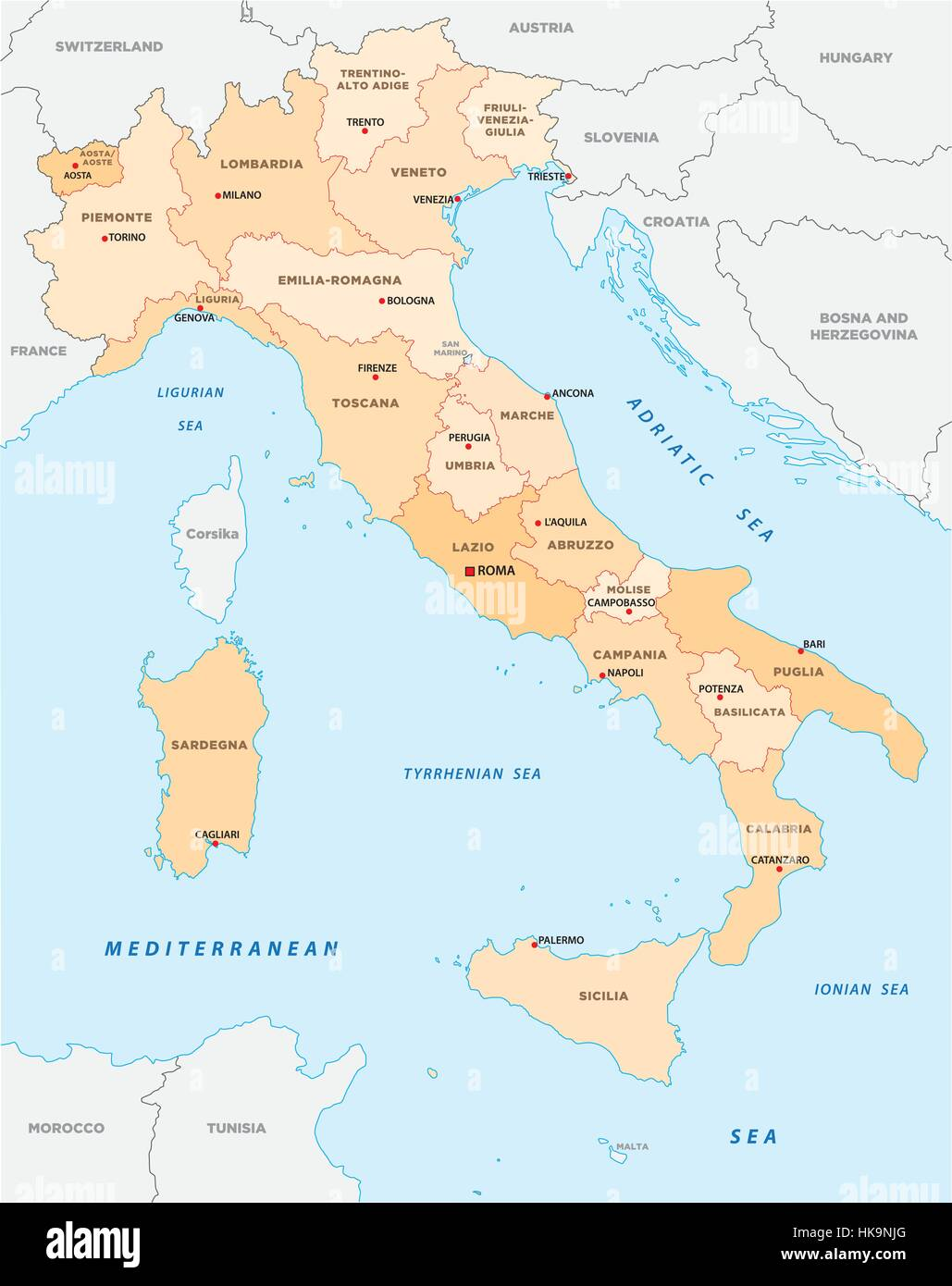 Italy administrative and political map Stock
