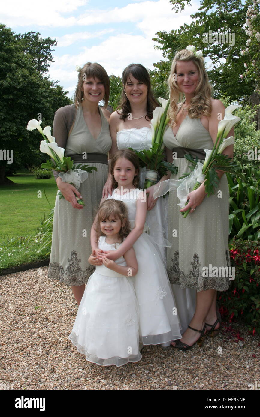 Bride and Bridesmaids posed in a Formal wedding style group - Stock Image