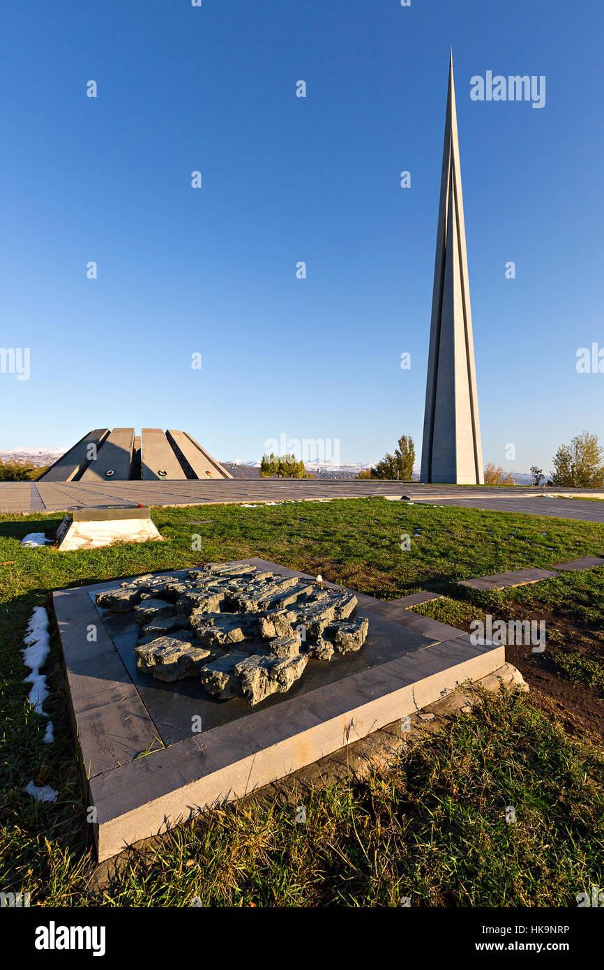 Armenian genocide memorial monument in Yerevan, Armenia - Stock Image