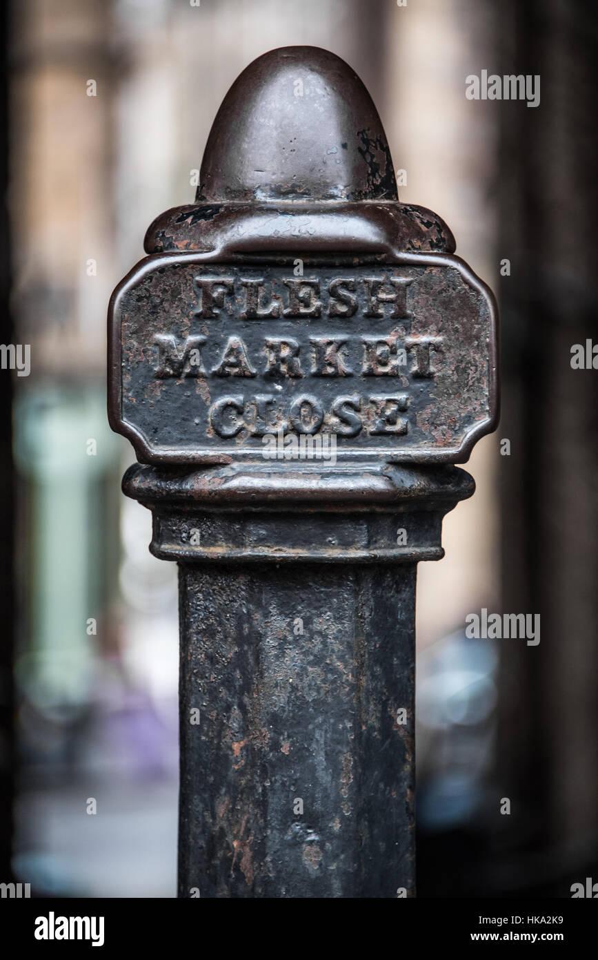 antique metal post at Fleshmarket Close in Edinburgh, Scotland - Stock Image