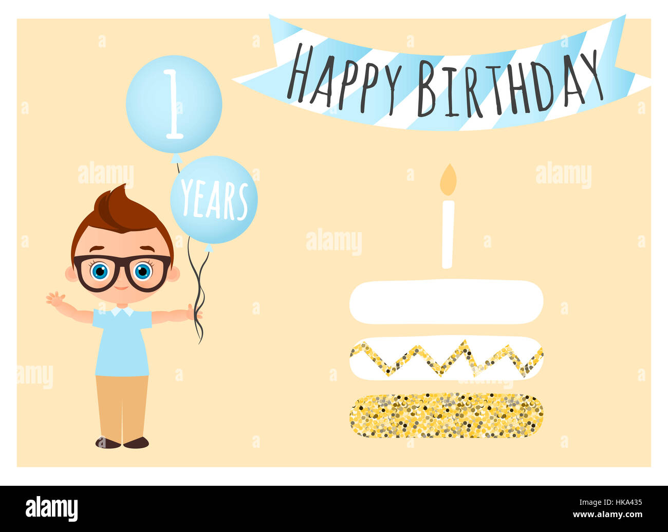 Happy birthday postcard happy birthday background for poster stock happy birthday postcard happy birthday background for poster banner card invitation flyer young boy holds balls with congratulations vector ill stopboris Choice Image
