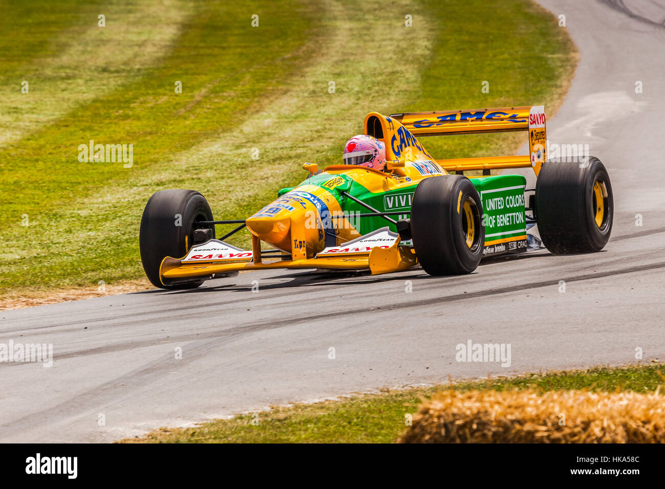 Benetton F1 racing car at Goodwood Festival of Speed 2014 - Stock Image