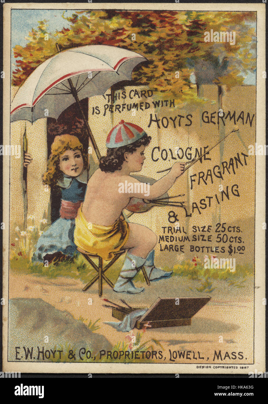 This card is perfumed with Hoyts German Cologne, fragrant & lasting - Stock Image
