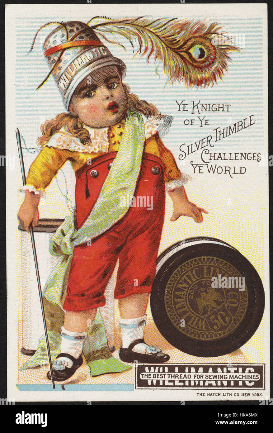 Ye Knight of ye silver thimble challenges ye world, the best thread for sewing machines - Stock Image