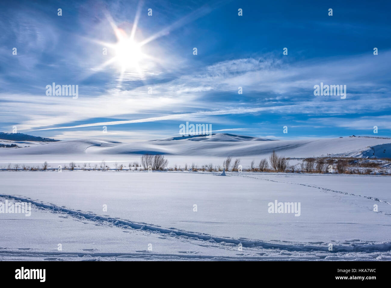 Sun shines over snowy field in Moscow, Idaho. - Stock Image
