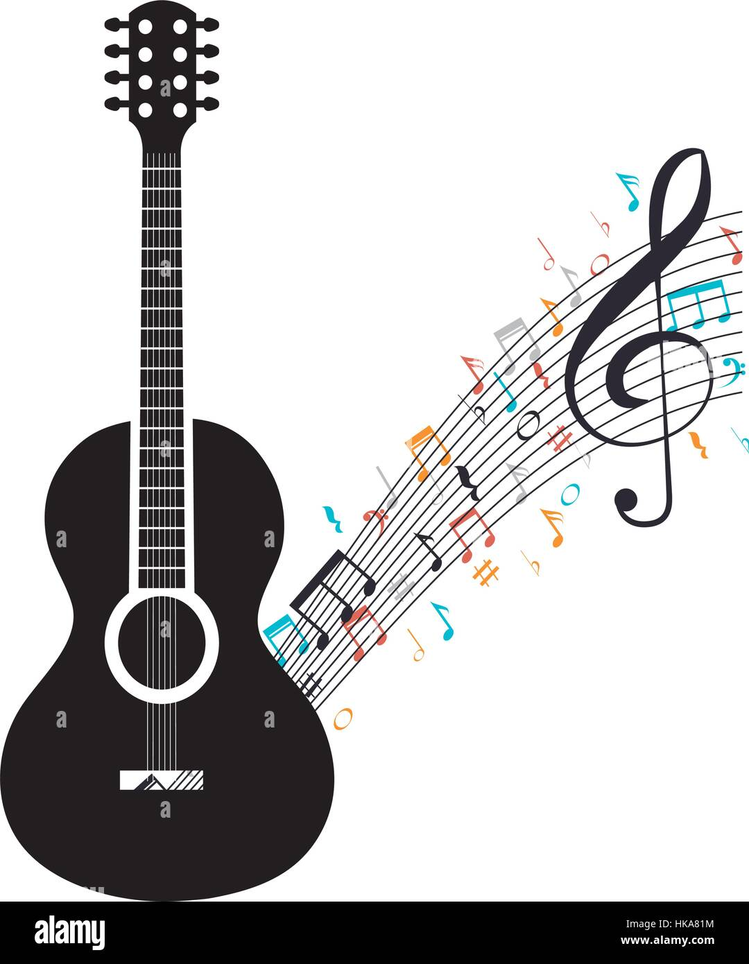 Acoustic Guitar With Musical Notes Vector Illustration Design Stock
