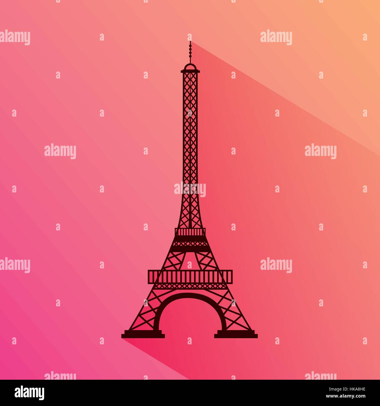 eiffel tower icon over colorful background. travel and tourism design. vector illustration - Stock Vector