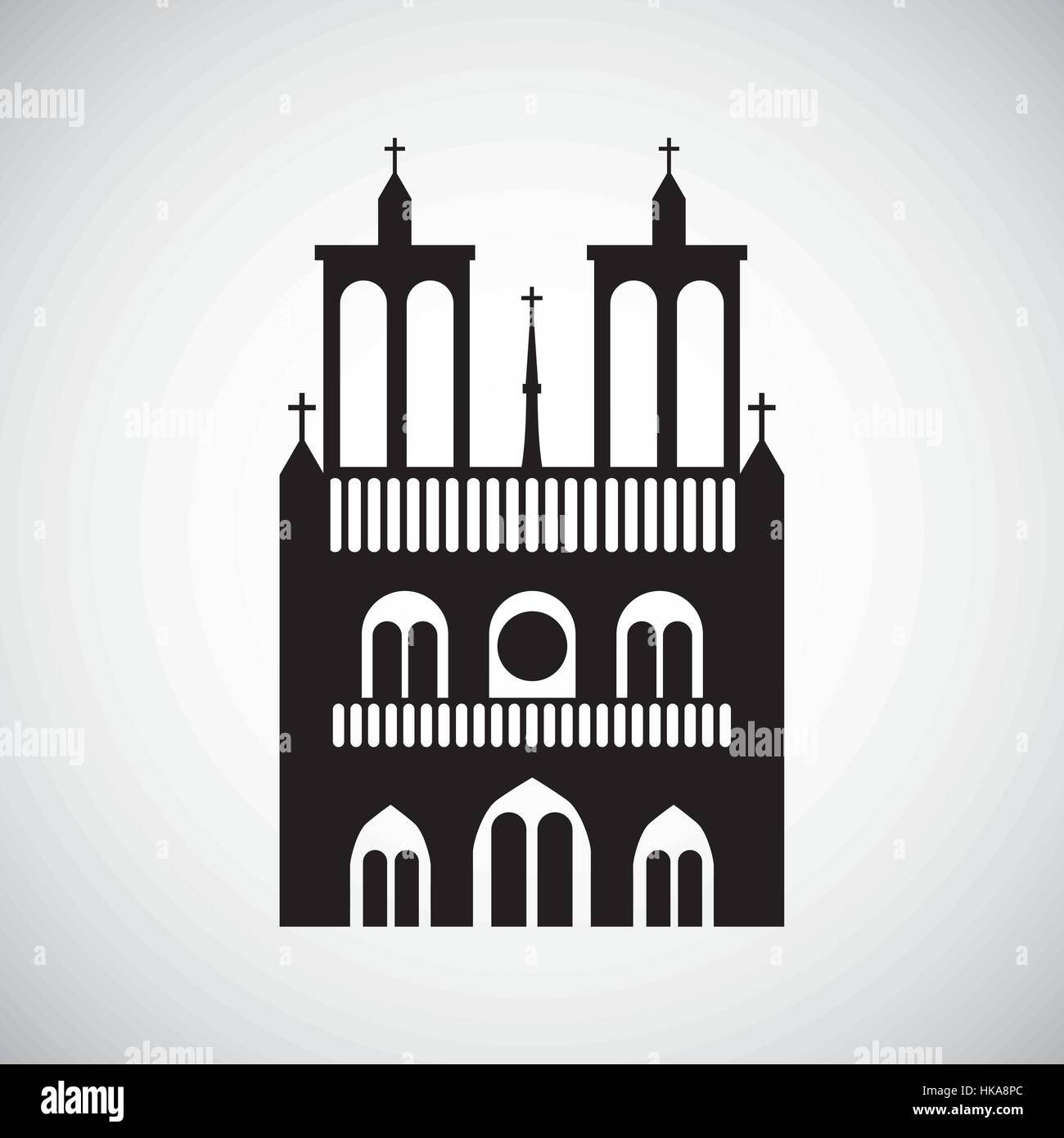 notre dame icon over white background. travel and tourism design. vector illustration - Stock Vector
