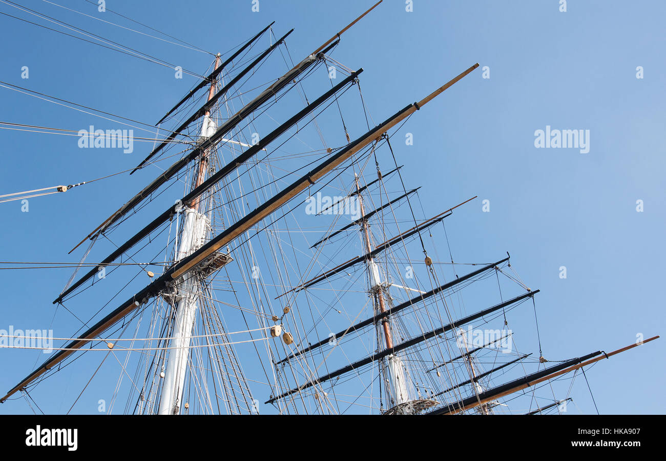 Old Clipper Sailing Ship Barquentine Rigging. - Stock Image