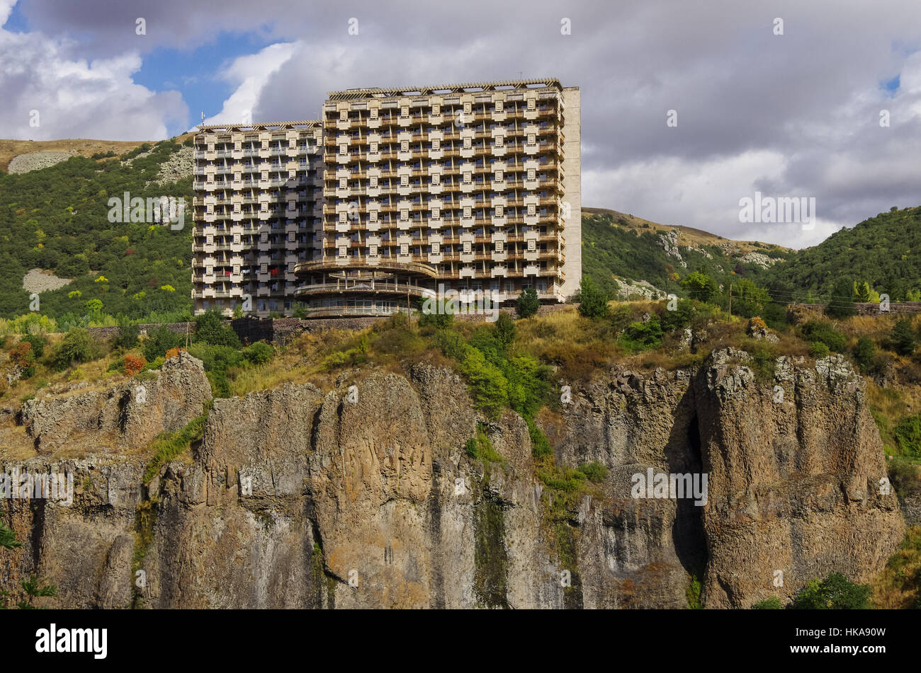 Abandoned soviet hotel on the cliff of Arpa river canyon on spa