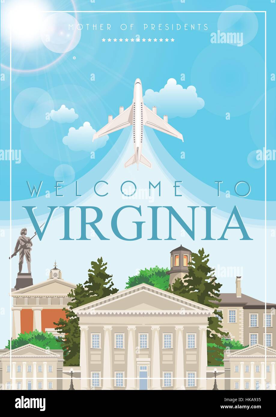 Virginia vector american poster. USA travel illustration. United States of America colorful greeting card. Stock Vector