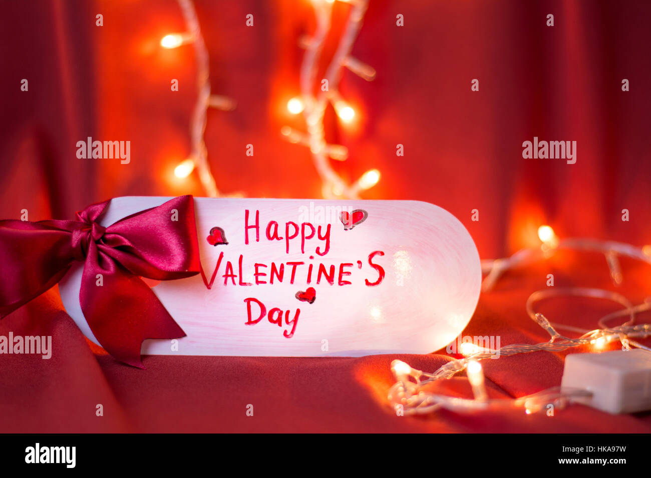 Happy Valentines Day Card With Festive Lights Shining Stock Photo