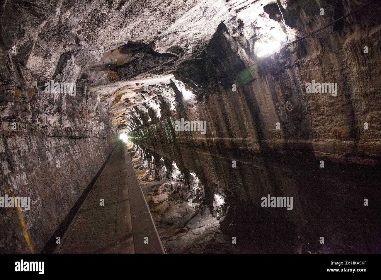 Tunnel on the Union Canal. Carved into rock. Stock Photo