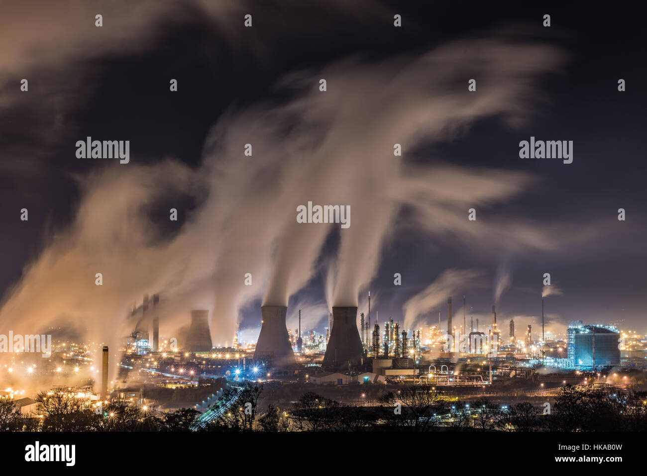 Grangemouth is Scotland's only crude oil refinery and produces the bulk of fuels used in Scotland along with other - Stock Image