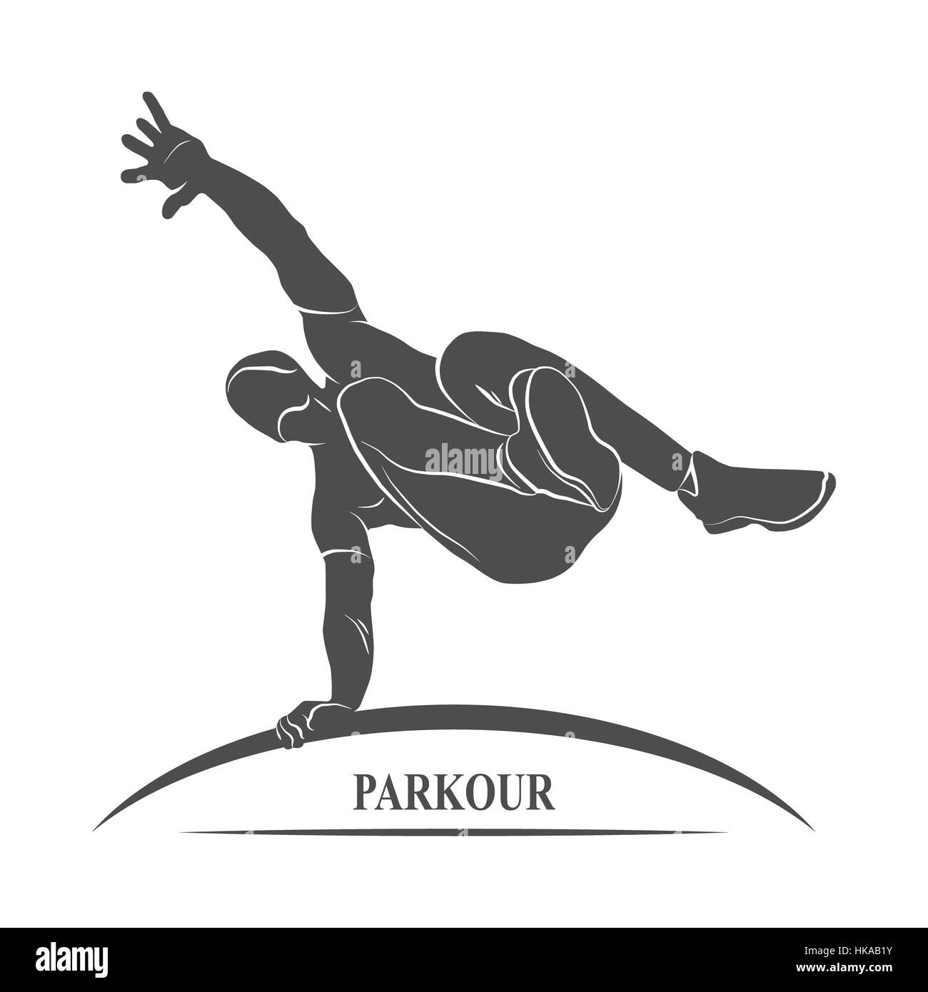Icon man jumping outdoor parkour. Photo illustration. - Stock Image