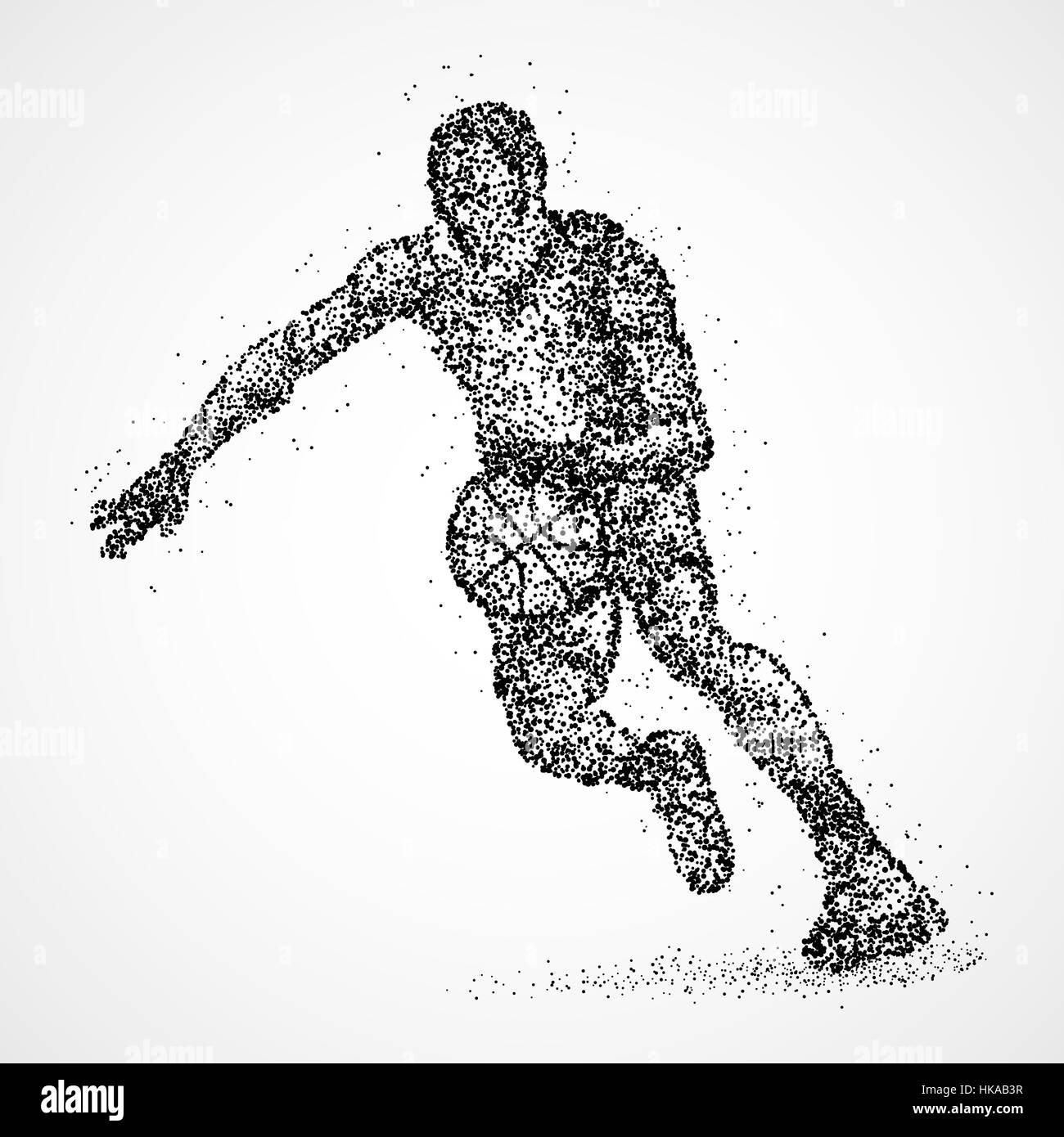 Abstract basketball player of the black circles. Photo illustration. - Stock Image