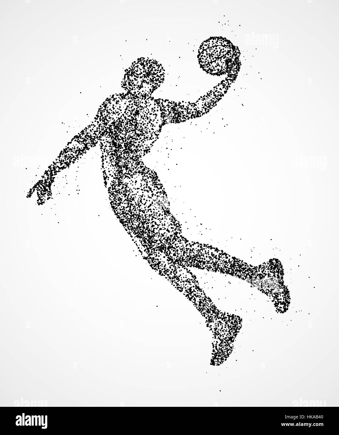 Abstract basketball player in jump from the black circles. Photo illustration. - Stock Image