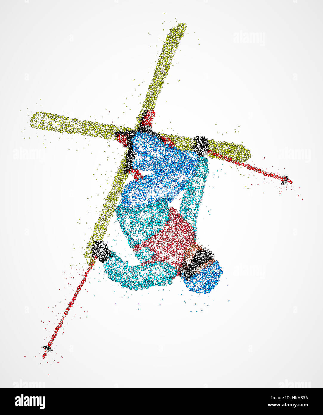 Abstract skier jumping out colored circles. Photo illustration. Stock Photo