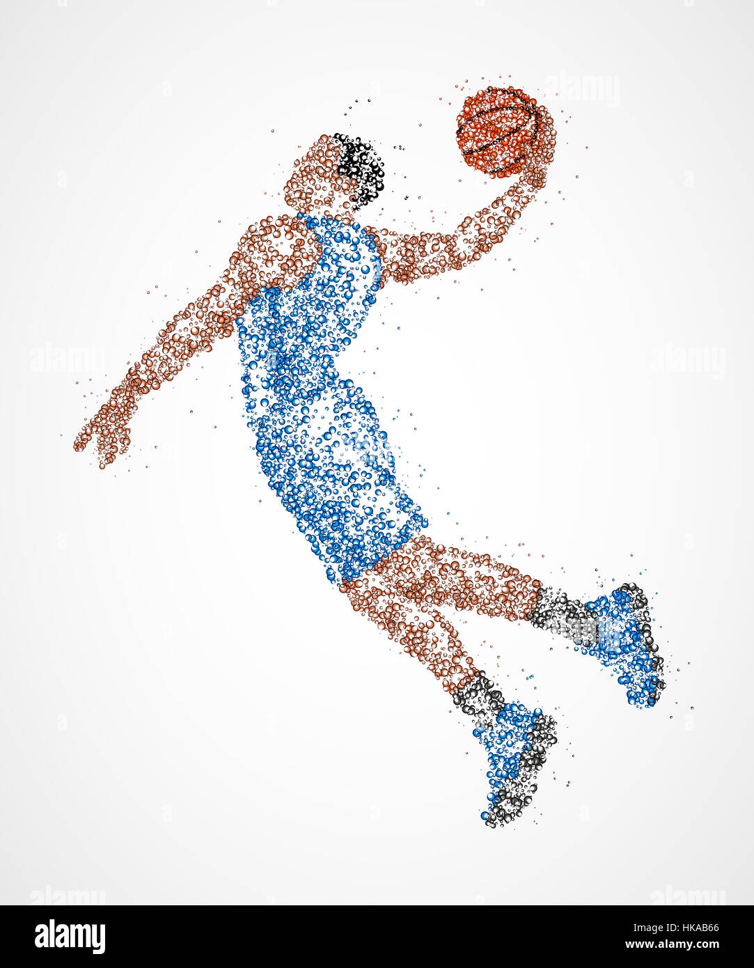 Abstract basketball player in jump of multicolored circles. Photo illustration. - Stock Image